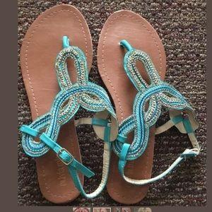 Teal Blue Green & Gold Sandals Size9 Olivia Miller